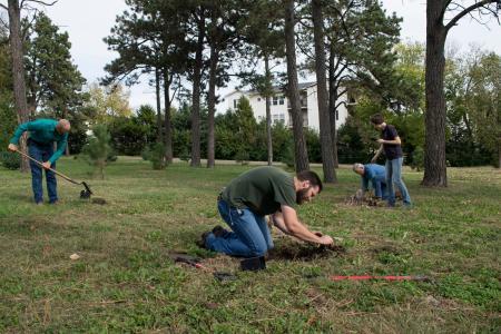Jarran Ryan & Larry Darci working in arboretum